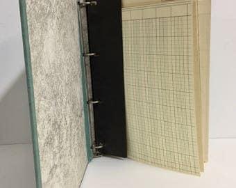 Vintage Canvas Binder/ Vintage Canvas Accounting Notebook/ Vintage Four Ring Binder/ Canvas Binder/ Vintage Ledger