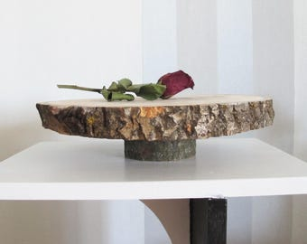 """Large Wood Slice Cake Stand, Wooden Cupcake Stand 12.9"""", Wood Centerpiece, Rustic Home Deccor"""