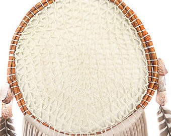 Hand Made Woven Boho Creme  |  Feathers, Suede & Seashell  Dream Catcher-14