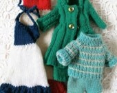 Vintage Sindy Clothes. Hand Knitted Sindy Doll Outfits. Job Lot of Sindy Clothes. Sindy Dresses. Sindy Knitted Coat. Sindy Jumper and Shorts