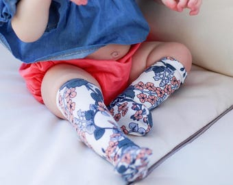 Socks - Knee High Socks - Toddler Socks - Dress Socks - Floral Socks - Vintage Floral - Lightweight Dress Socks - Cute Socks - Baby Girl