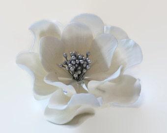 White and Silver Open Rose Sugar Flower for wedding cake toppers, birthday cake, bridal shower, gumpaste flower bouquet, fondant decor