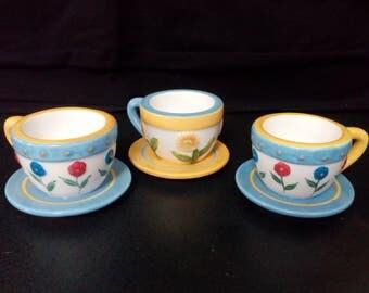 Miniature Teacup Tea Light Holder - Teacups Set of 3