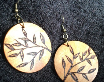 Large Wooden Earrings, Lightweight Round Dangle Earring, Wood Burned, One of A Kind, Hypoallergenic, Nickel Free - Branch and Leaf
