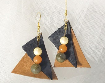 Leather and Pearl + natural stone stone earrings