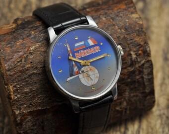 "Vintage Soviet watch - Russian Mens watch Mechanical watch - ""Slava"" BAIKONUR  USSR (Very Rare) Limited Edition"