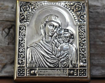 Vintage Silver Plate Icon Russian Orthodox Our Lady Art Mother Mary Baby Jesus Queen of Heaven