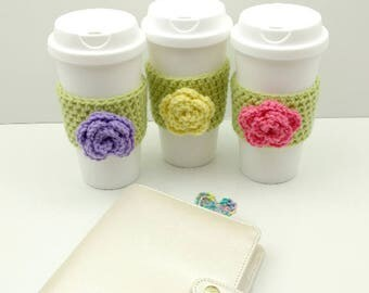 Green Crochet Cup Cozy: Coffee/Tea Sleeve with flower (Pink, Yellow, or Purple)    [052]