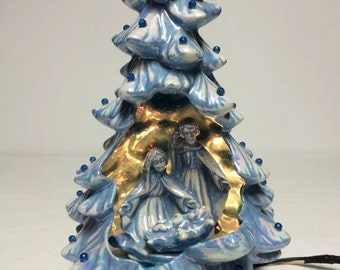 "Ceramic Holland Mold Christmas Tree, Blue Ceramic Tree, Nativity Theme Christmas Decor, Light Up Ceramic Tree, Holy Family Theme Tree 12"""
