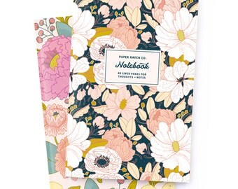 Notebook Set of 2 - Night Floral Notebook and Principessa Notebook - Journal - Daily Jotter - Floral Notebook