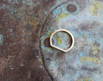 flattened silver ring, flat ring made by hand