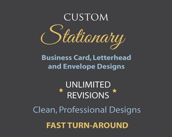 Custom Stationary.  Business card, letterhead, and envelope designs.  Professional. Clean. Graphic Design.