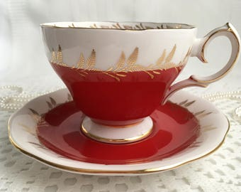 Queen Anne China Tea Cup and Saucer, Red and White with Gold Detail and Trim