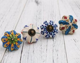 Ceramic Knob Dresser Drawer Knob Colorful Knobs Girls Children Door Knobs Kitchen Cabinet Knob Cupboard Knob Kids Decorative Knobs Flower