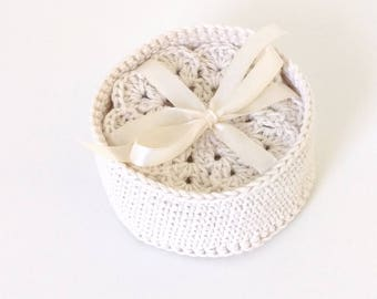 Crochet coasters, Crochet tablecloth for glasses, Crochet Cup