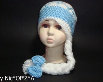 Hand Crochet Elsa Hat with Crown & Long Braid Elsa Inspired Hat Crocheted Frozen Hat Knit Crochet Elsa Hat Gift Kids Toddler Children Gift