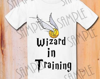 """Harry Potter T-shirt """"Wizard in training """" Printable iron on transfer,Digital Download,Harry potter ,customize"""