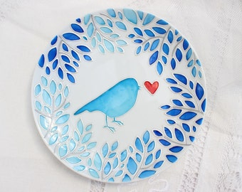 Decorative plate Love bird Hand painted plate for hanging. Wall plate. Ceramic plate. Gift for Valentine's Day. Gift for any occasion