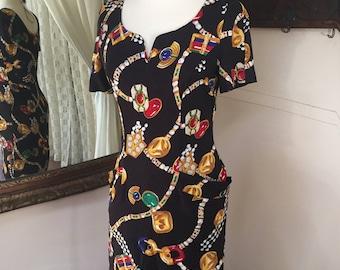 80s 90s Dress // Bold Print Dress
