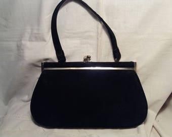Vintage Black Suede Handbag