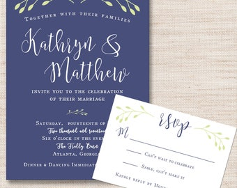 Navy and Green Branches Wedding Invitation & RSVP Card- PRINTABLE - Digital Files