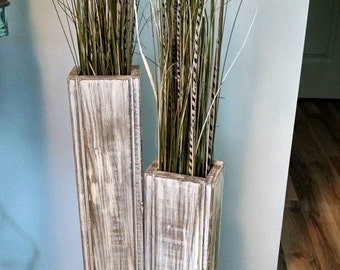 "Set of two-Rustic wood floor vases. 28"" and 24"". Wedding Decor. Vase Home Decor. Shabby Chic"