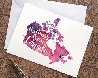Canada Watercolour Map Greeting Card, Greetings from Canada Hand Lettered Text, Gift or Postcard, Giclée Print, Map Art, Choice of 5 Colours