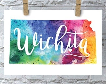 Custom Kansas Map Art, Kansas Watercolor Heart Map Home Decor, Topeka or Your City Hand Lettering, Personalized Gift, Giclee Print, 5 Colors