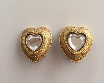 Poggi clips heart Crystal from swarowski Poggi and swarowski Crystal heart earrings