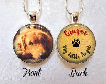 Dog Memorial Necklace Pendant - Dog Photo Necklace- Custom Personalized Pet loss Necklace - Pet Photo pendant - Personalized pet pendant