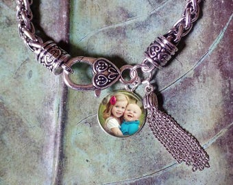 Photo Bracelet - Custom BABY Child Photo Charm Bracelet with Tassel - Personalized photo charm Gift from husband from daughter