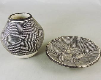 Jar and Plate by Lucy Lewis and Marie Chino Acoma Pueblo