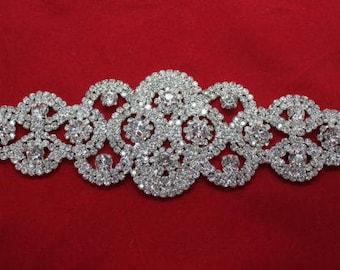 Diamante Applique Motif Crystal Patch Sew on Bridal Dress Embellishments 96