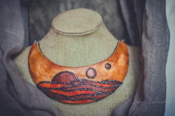 Statement necklace Bib necklace orange red copper necklace fantasy necklace polymer clay necklace Large necklace massive necklace sunset