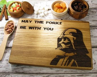 Star Wars Darth Vader Cutting Board Forks Christmas Gift Personalized Cutting Board Kitchen Decor Chopping Board Gift For Him Gift Ideas