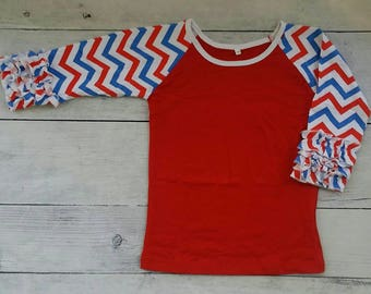 Red White and Blue Chevron on Red Ruffle Raglan