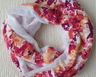 Pink and Coral Infinity Scarf - size small