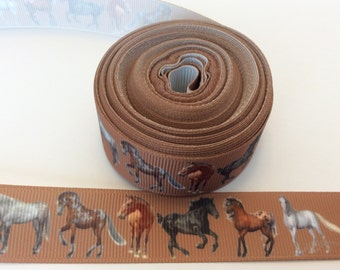 Wild Horse grosgrain Ribbons,horse riding ribbons, equine ribbons, farm Ribbons,  7/8  inch Grosgrain ribbon, perfect for hairbows,
