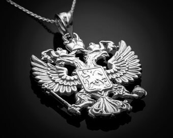 Sterling Silver Russian Coat of Arms Double-Headed Eagle Pendant Necklace
