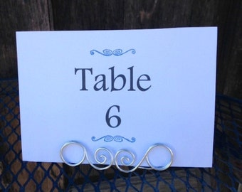 Wire Wedding Table Number Holder, Place Card Holder, Set of 10 Medium Wire Spiral Place Card Holders, Rustic Wedding, Name Card Holder