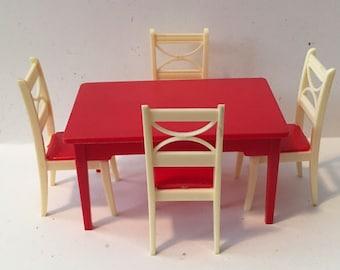 renwal htf red kitchen table  u0026 chair set vintage dollhouse furniture 1 16 plastic vintage kitchen table   etsy  rh   etsy com