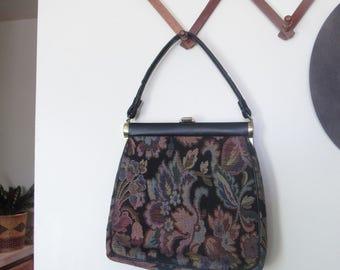 Vintage Handbag, Tapestry Bag, Floral Tapestry Bag, Floral Tapestry purse, JB Handbag