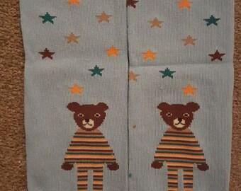 blue stars and teddy bear baby leg warmers