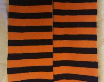 Orange and black stripe leg warmers