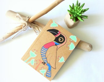 Kids diary, kids personnal diary, jungle diary journal, toucan illustration, notebook journal, writing journal, girl journal diary