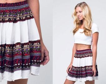 white mini gypsy skirt / white multi print gypsy skirt / vtg 80s / s