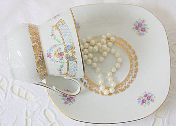Vintage Wawel Porcelain Cup and Saucer, Flower and Gold Leaf Decor, Poland