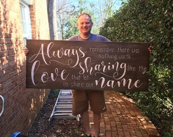 LARGE, Always remember, love quote, share our name, avett brothers lyric, song lyric, wooden sign, wedding sign, photo prop, anniversary