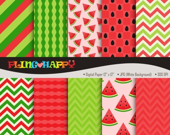 70% OFF Water Melon Digital Papers, Water Melon Digital Papers Graphics, Personal & Small Commercial Use, Instant Download