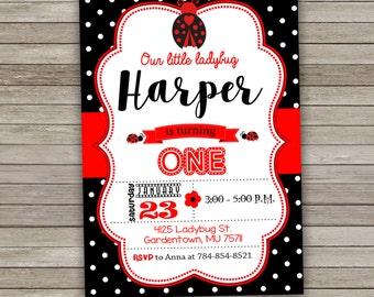 Ladybug Invitation, Little Ladybug Party Invitation, Ladybug Birthday Party Invitation, Ladybug Invitation Printable